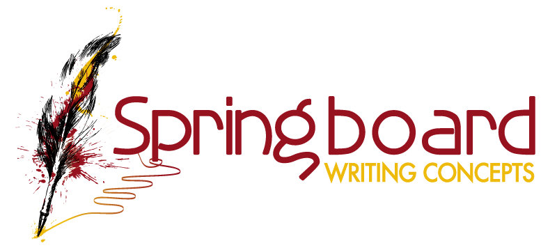Gold and Burgundy Feather Pen writing - Springboard Writing Concepts